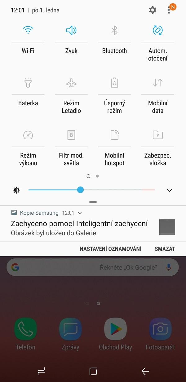 Samsung Galaxy Note9; recenze; nastavení