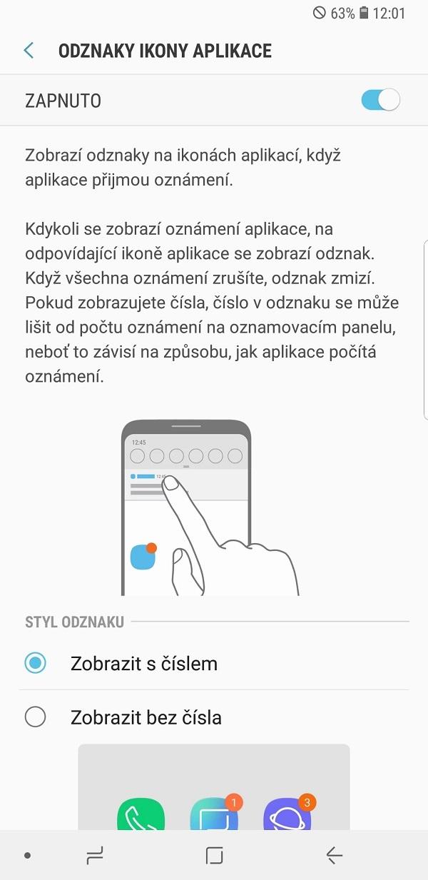 Samsung Galaxy Note9; recenze; odznaky ikony aplikace