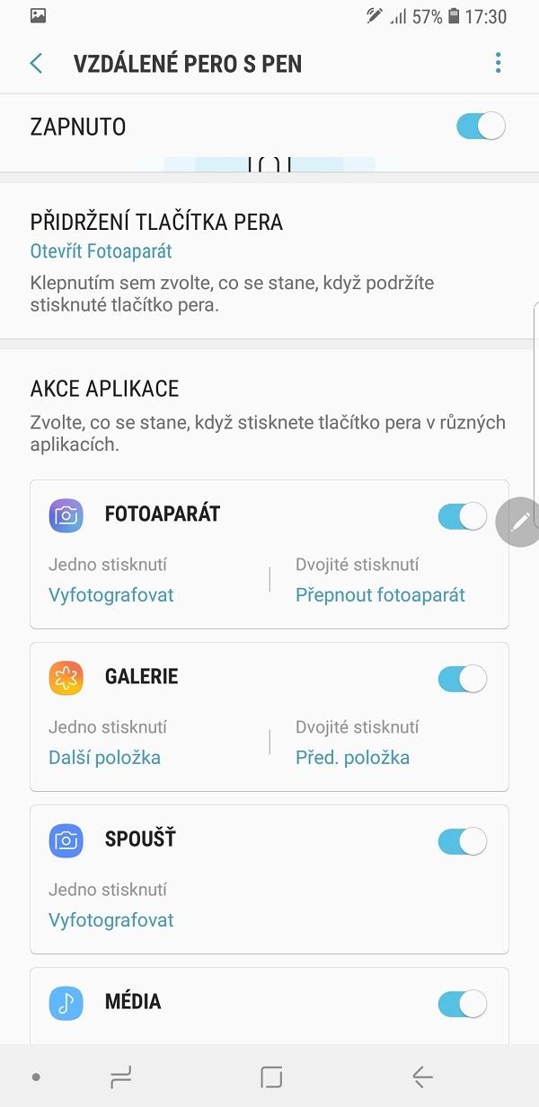 Samsung Galaxy Note9; recenze; vzdálené pero s pen