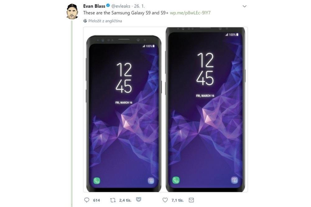 Samsung Galaxy S9, oficiální render