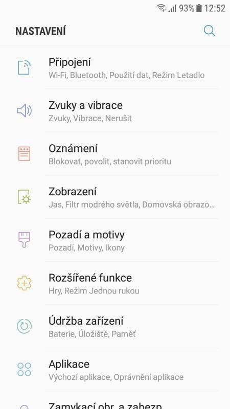Samsung TouchWiz - menu nastavení