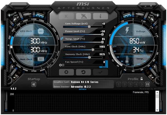 Přetaktování Sapphire Nitro+ RX 570 4GD5; Afterburner