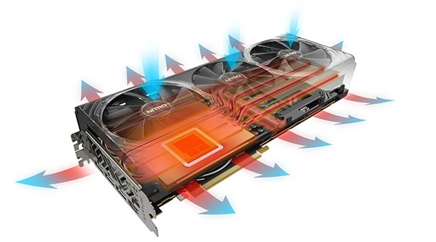 Sapphire Nitro+ RX Vega64 8G HBM2 systém chlazení