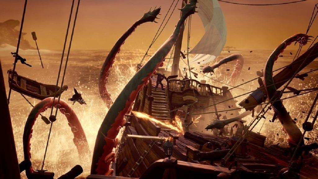 Sea of Thieves; Wallpaper: chapadla, souboj, lodě
