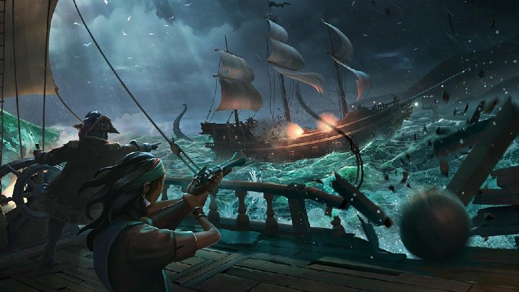 Sea of Thieves; Wallpaper: souboj, loď, bitva