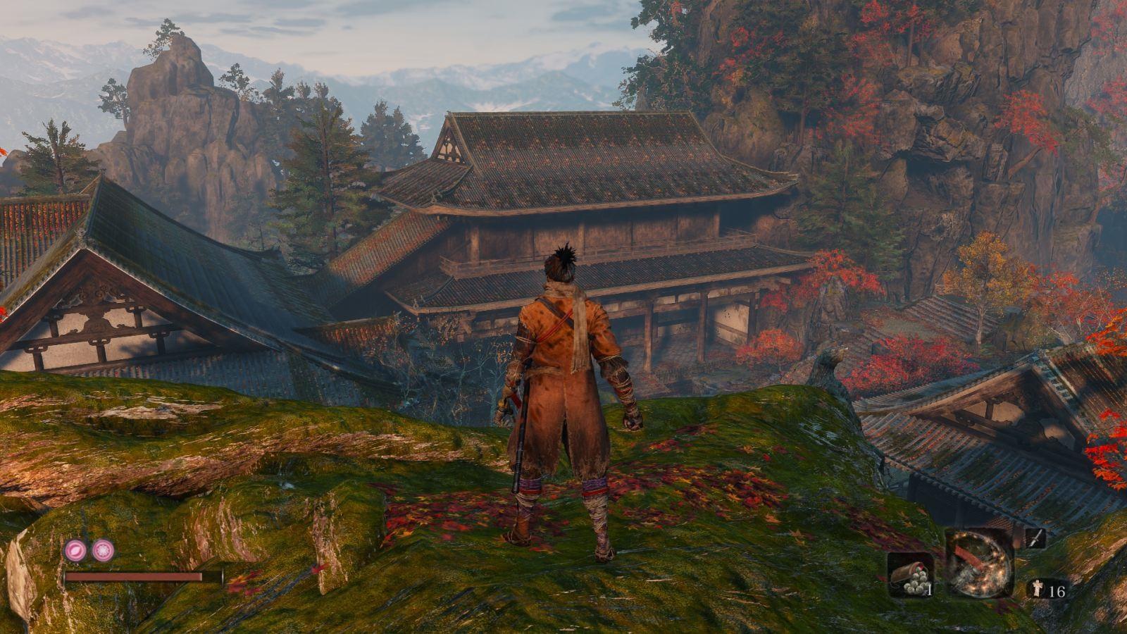 Sekiro: Shadows Die Twice; gameplay: pagoda
