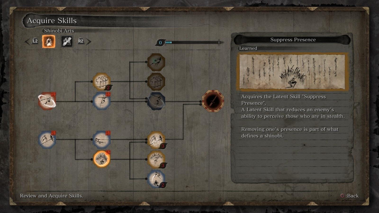 Sekiro: Shadows Die Twice; gameplay: skilly