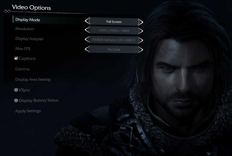 Middle Earth: Shadow of Mordor nastavení grafiky