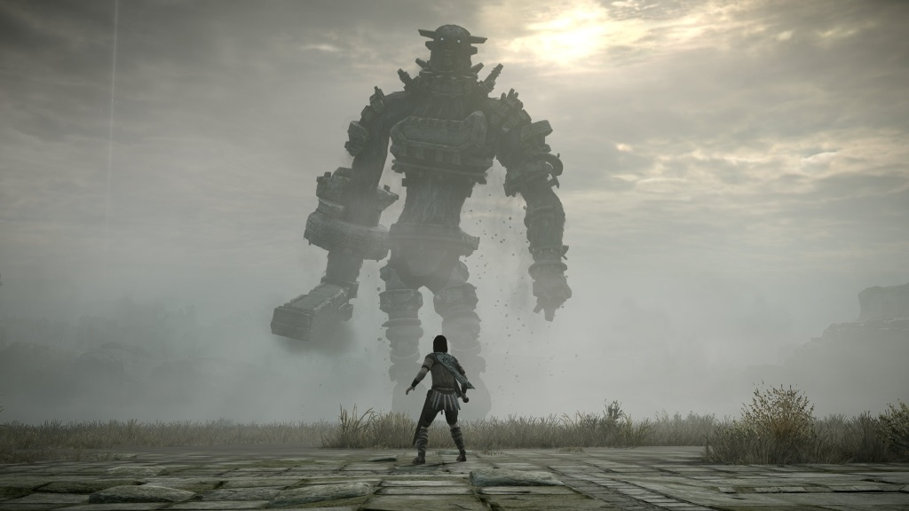 Shadow of the Colossus; Wallpaper: hlavní hrdina proti Kolosu