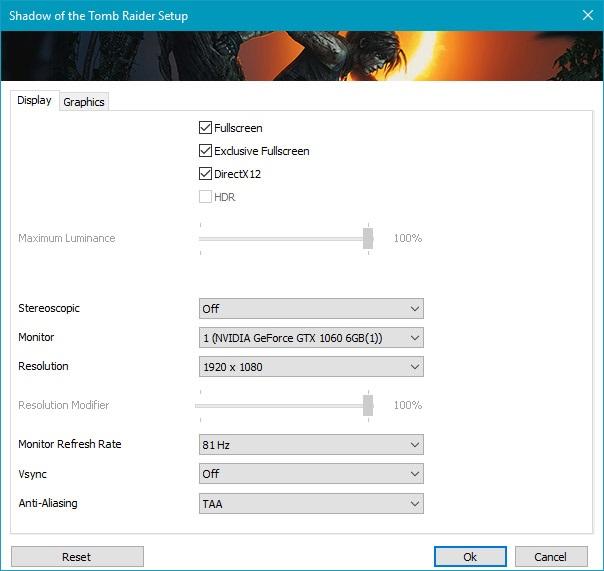 Shadow of the Tomb Raider, menu Display