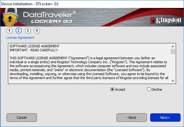 Podmínky programu pro šifrování USB.