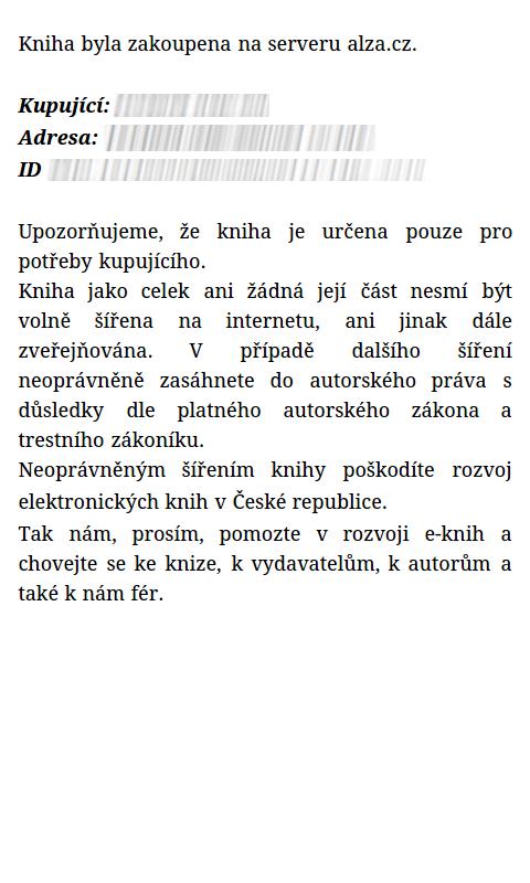 Ukázka Social DRM u knížek na Alza.cz