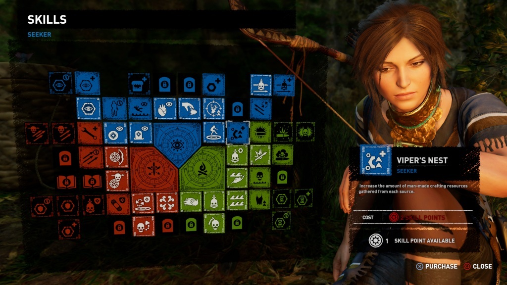 Shadow of the Tomb Raider; gameplay: skill tree