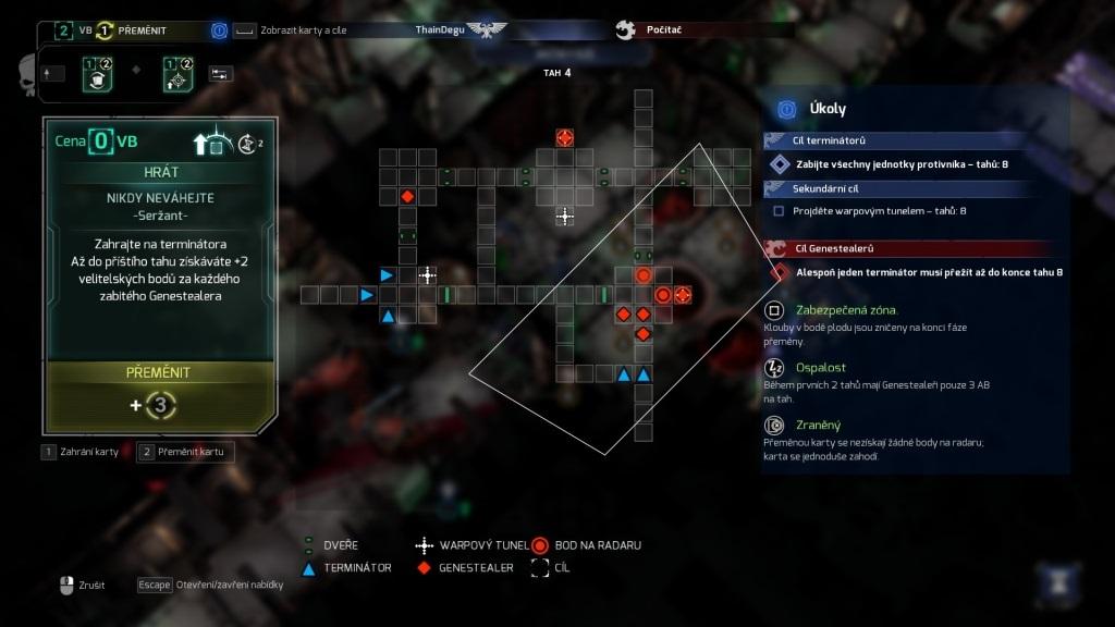Space Hulk: Tactics; gameplay: karta