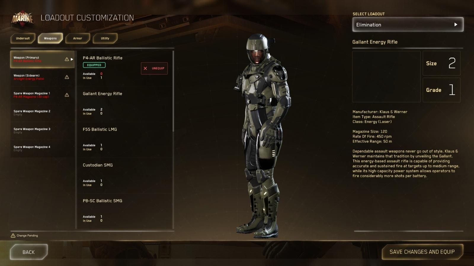 Star Citizen; gameplay: lehká výstroj
