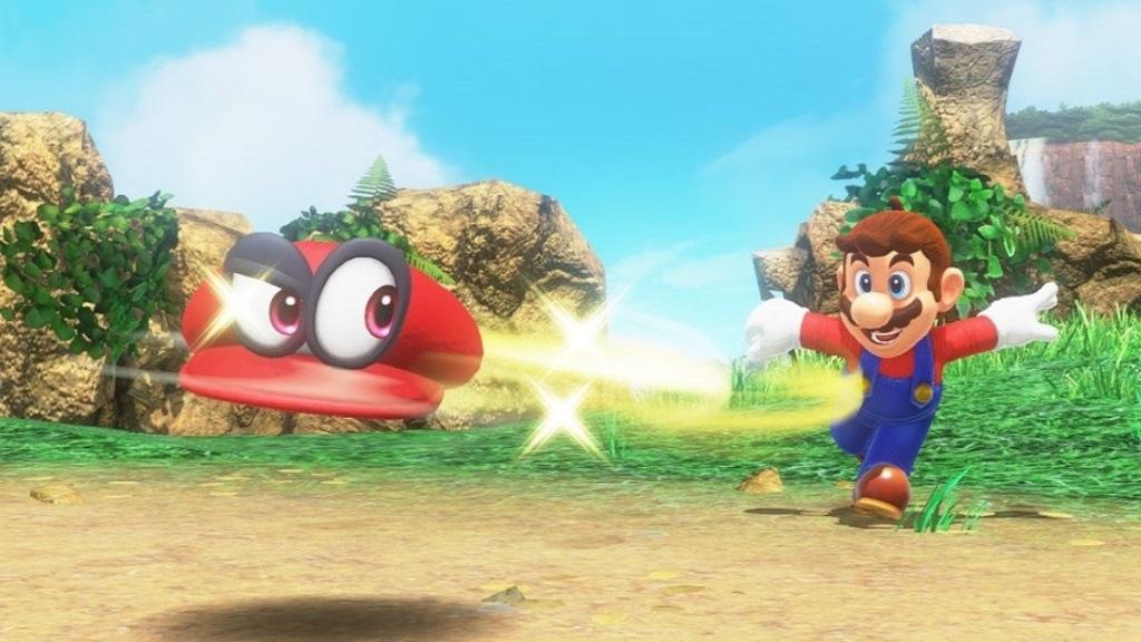 Super Mario Odyssey; Wallpaper: Mario hází klobouk