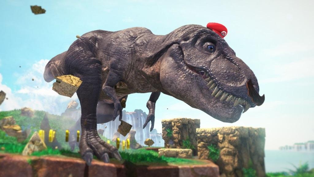 Super Mario Odyssey; Wallpaper: Tyranosaurus rex