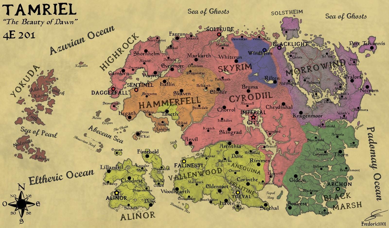 The Elder Scrolls IV: screenshot: Tamriel mapa