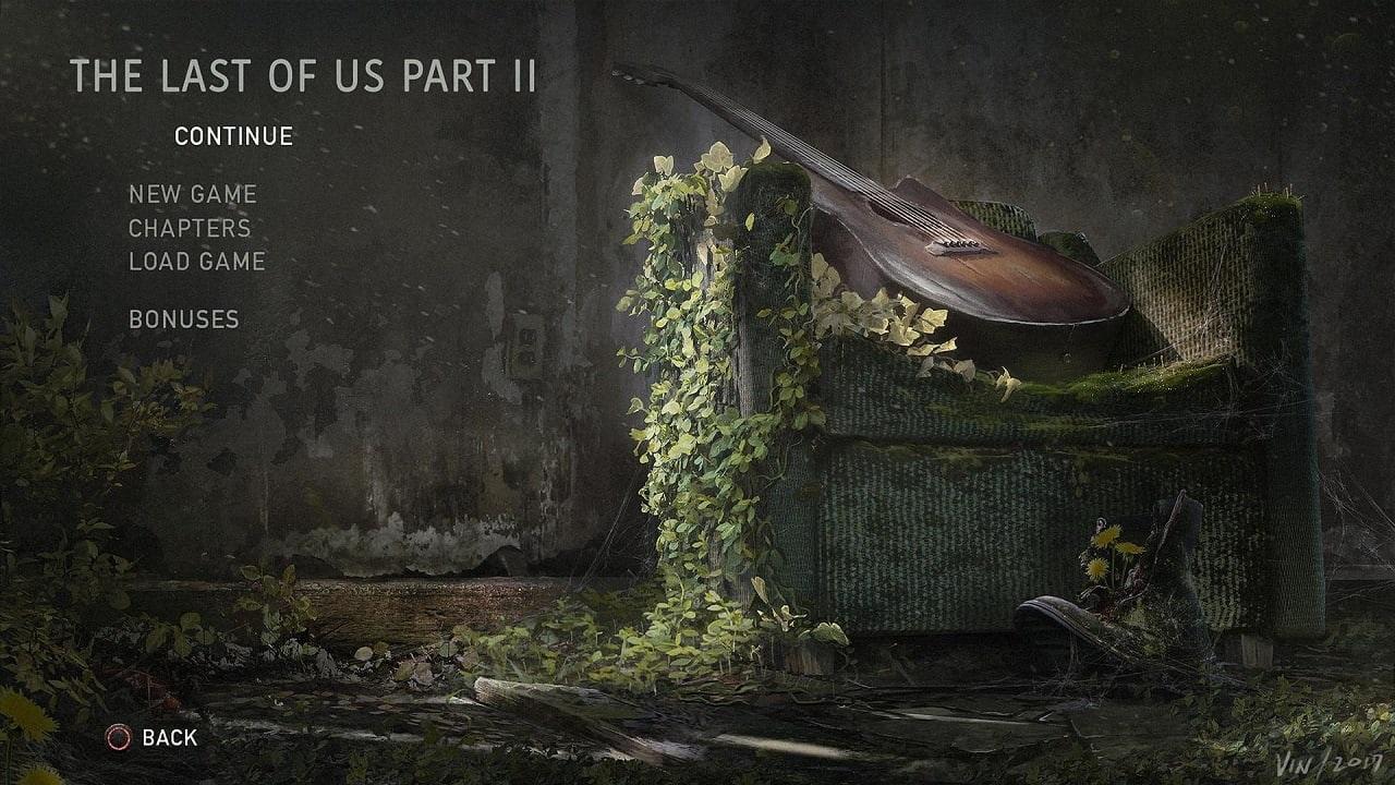 The Last of Us part II; main menu