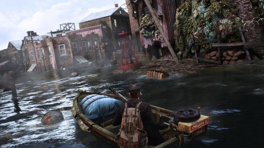 The Sinking City; screenshot: člun
