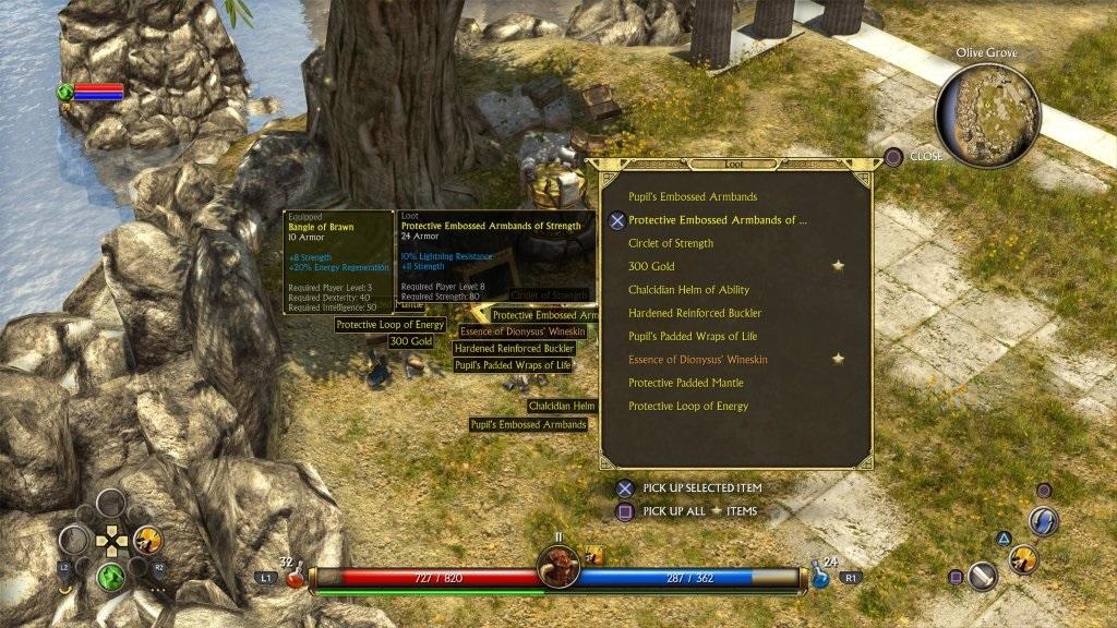 Titan Quest; Gameplay: tabulka předměty