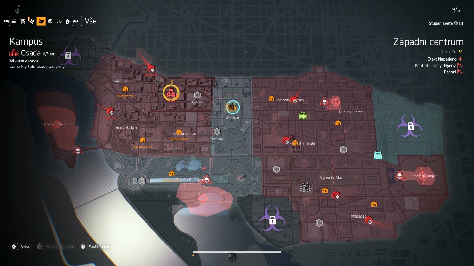 Tom Clancy´s The Division 2; gameplay: endgame mapa