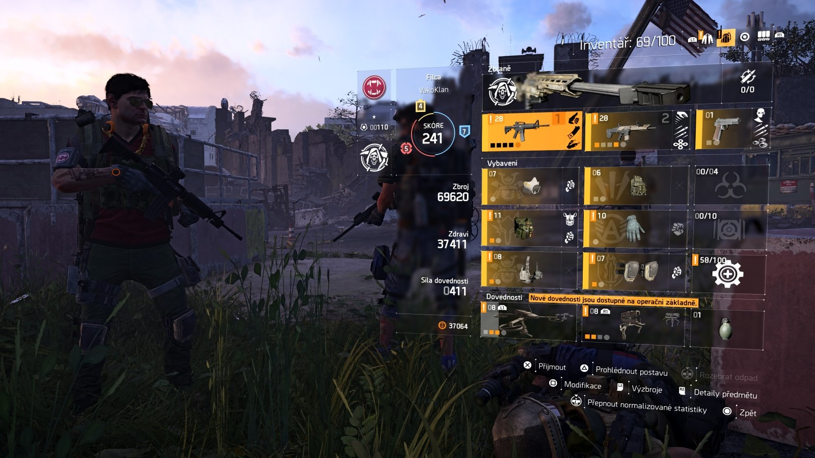 Tom Clancy´s The Division 2; gameplay: inventář
