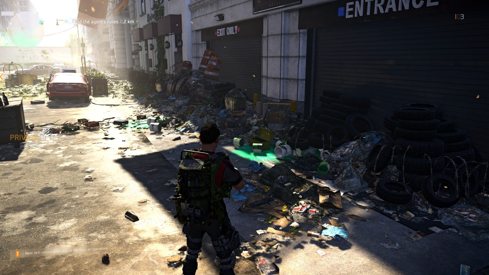 Tom Clancy's The Division 2; gameplay: odpadky na ulici