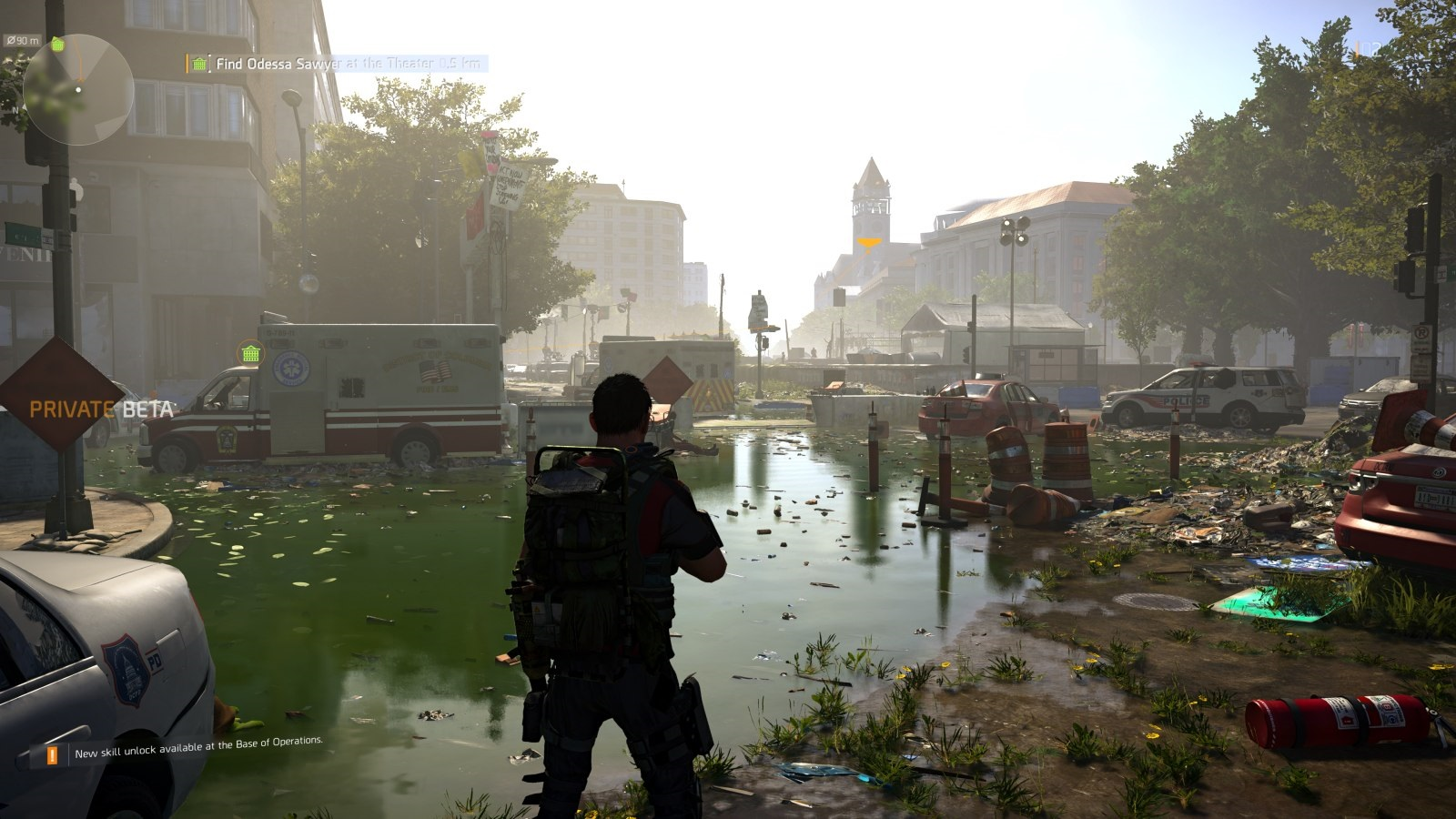 Tom Clancy's The Division 2; gameplay: zaplavená ulice
