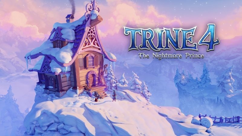 Trine 4: The Nightmare Prince; screenshot: zasněžená chata, logo