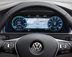 Volkswagen e-Golf; navigace, volant