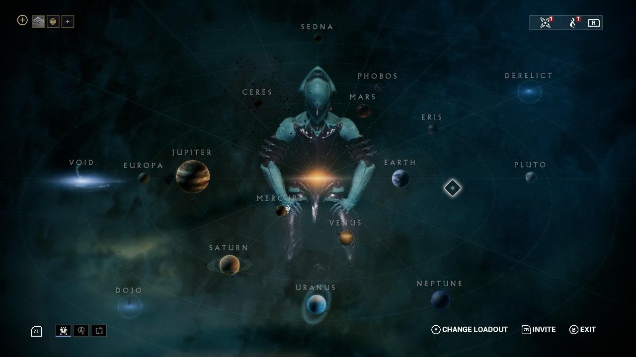Warframe; gameplay: hvězdná mapa