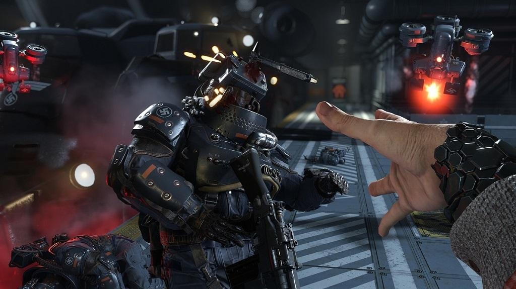 Wolfenstein 2: The New Colossus; sekera, voják, robot