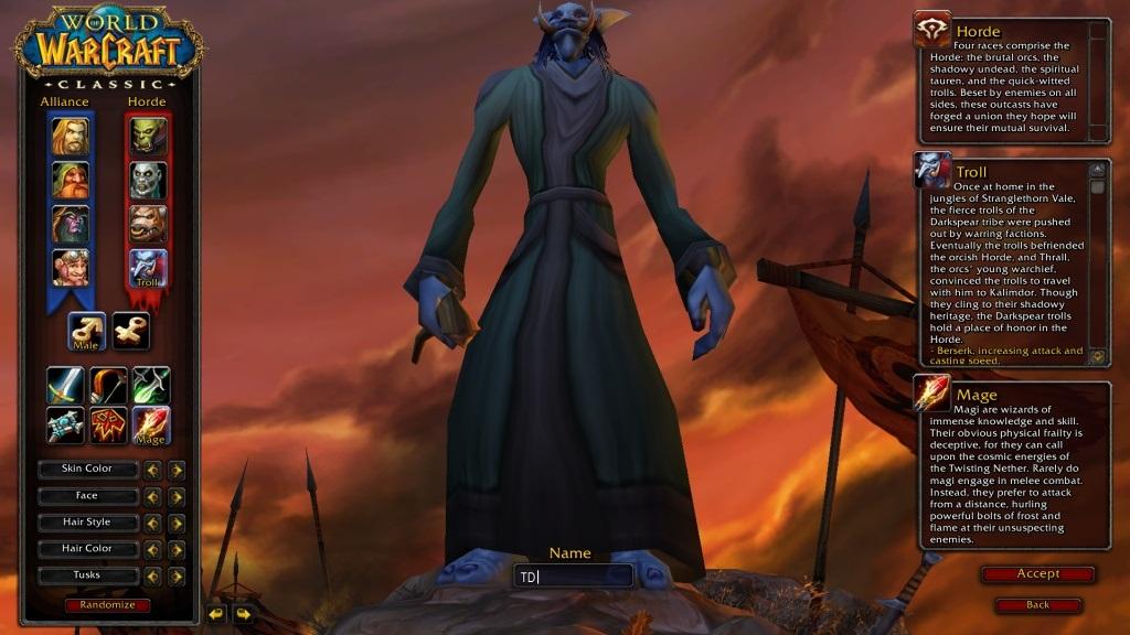 World of Warcraft Classic; gameplay: postava