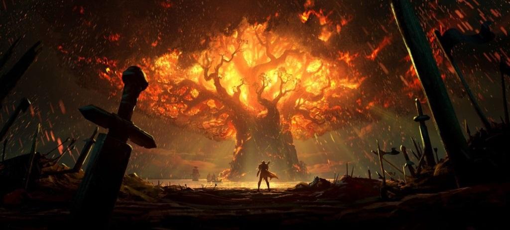 World of Warcraft: Battle for Azeroth; screenshot: Teldrassil hoří