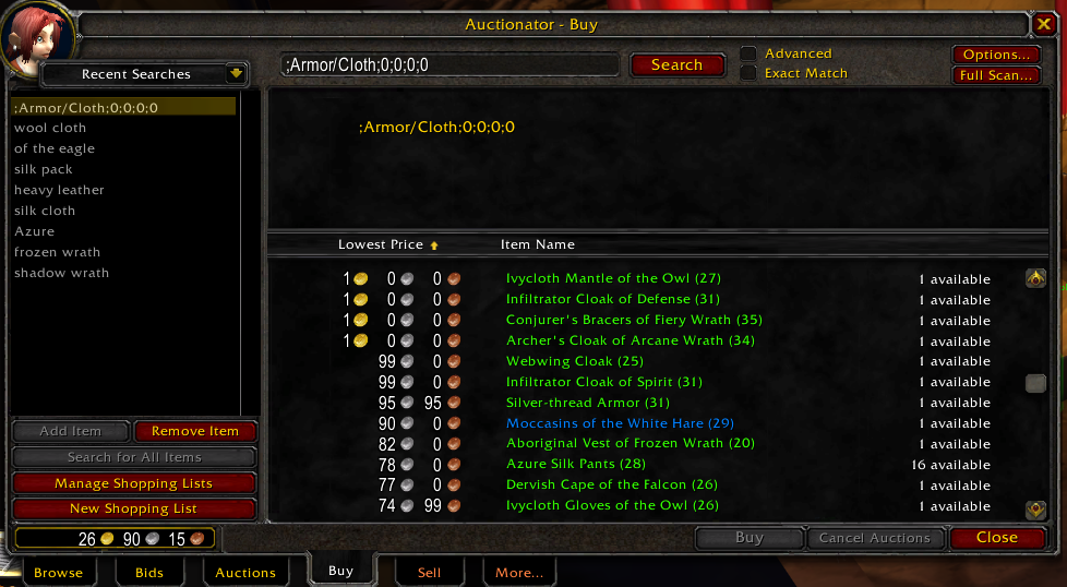 World of Warcraft Classic; addon: auctionator