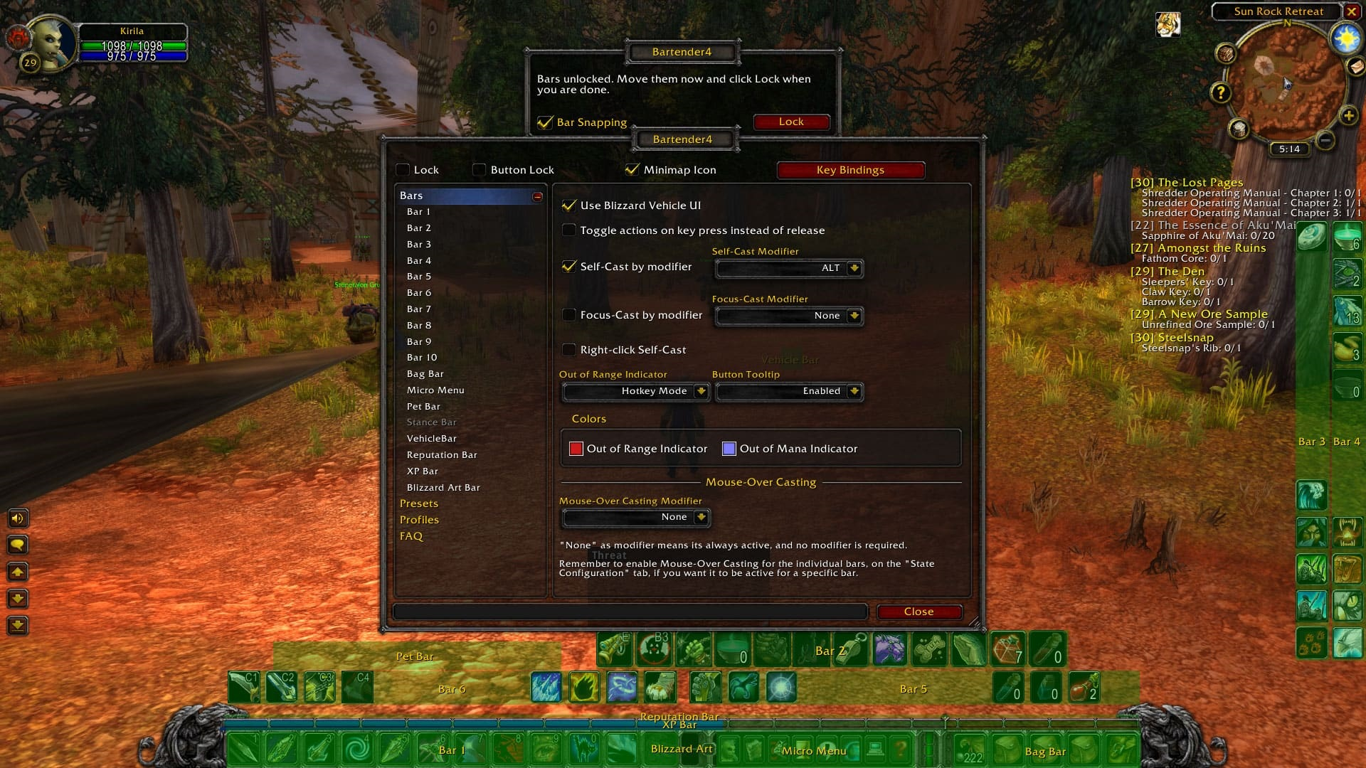 World of Warcraft Classic; addon: bartender4
