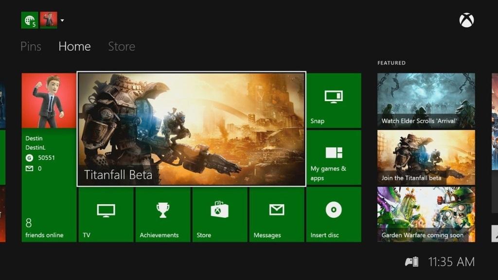 Xbox Two project Scarlett; screenshot: dashboard