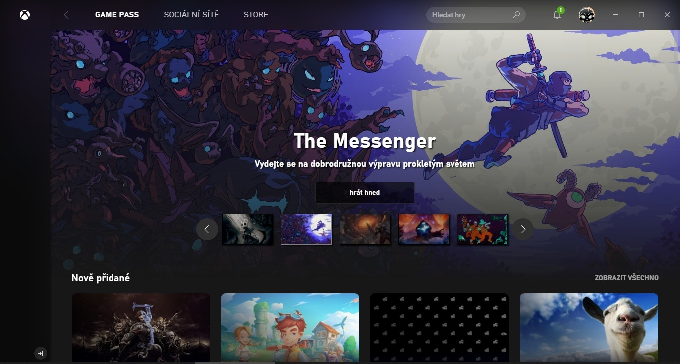 Xbox Game Pass; screenshot: verze pro PC