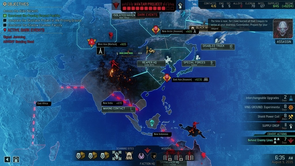 XCOM 2: War of the Chosen; geospace; strategická mapa