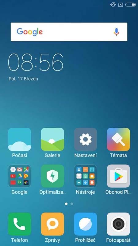 Xiaomi Miui - domácí obrazovka