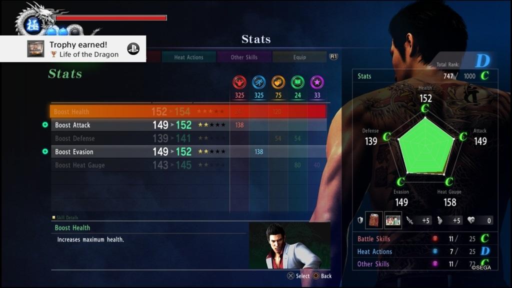 Yakuza 6: The Song of Life; Gameplay: statistiky