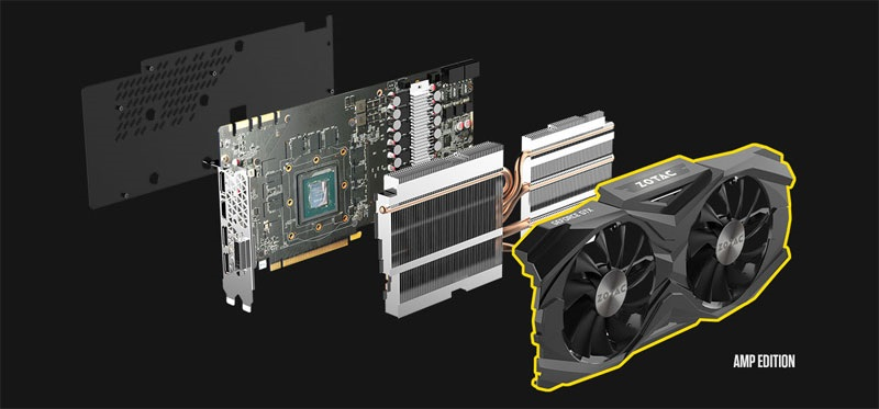 Zotac GTX 1080 Ti AMP! Edition systém chlazení