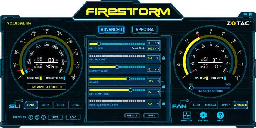 Zotac GTX 1080 Ti AMP! Edition FireStorm Advanced