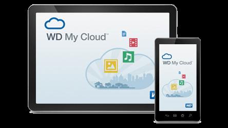tablet a mobilní telefon s obrazovkou WD My Cloud