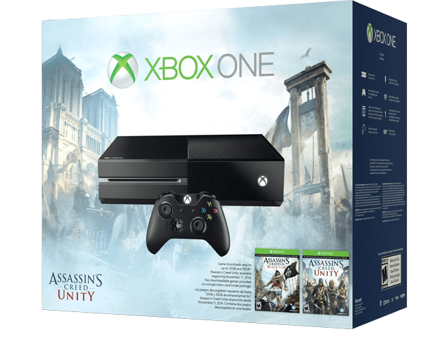 Microsoft Xbox One + Assassins Creed Unity + Assassins Creed IV Black Flag