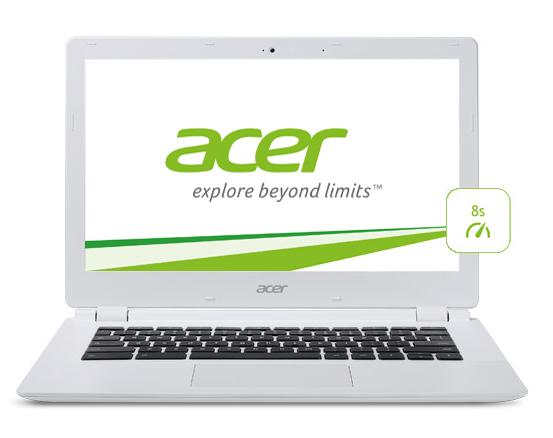 Acer Chrombook zepředu + ikonka výdrže