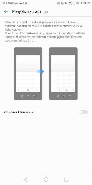 Huawei P smart screenshot - pohyblivá klávesnice