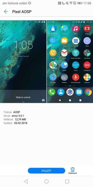 Huawei P smart screenshot - grafická témata