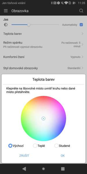Huawei P smart screenshot - kalibrace barev